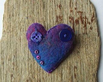 Heart Brooch – Handmade, Love Heart, Heart Pin, Felt, Hat Pin, Lapel Pin, OOAK,