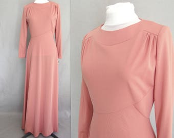 Pink Maxi Dress - Mauve Knit Vintage 1970's Formal, NWT, Modern Size 4, Extra Small