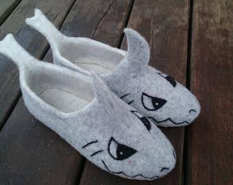 Felt slippers-felt clogs-Sharks slippers-fish slippers-funny slippers-funny gift-warm gift