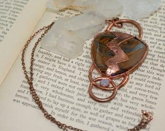 Odin's Eye - Tiger Iron and Rainbow Moonstone Pendant - Copper Electroformed - Statement Necklace - Mythology - Lighting - Old Gods