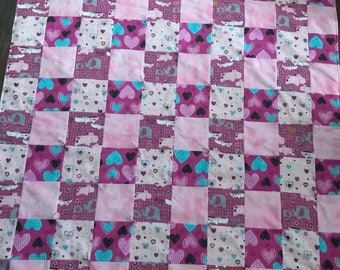 Elephant Baby Girl Flannel Quilt