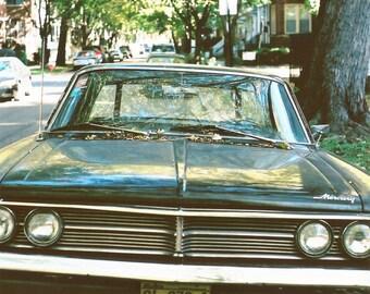 vintage Mercury photo, black classic car, autumn, fall, yellow and black, car grill, headlights, film photography, car art, men, vintage