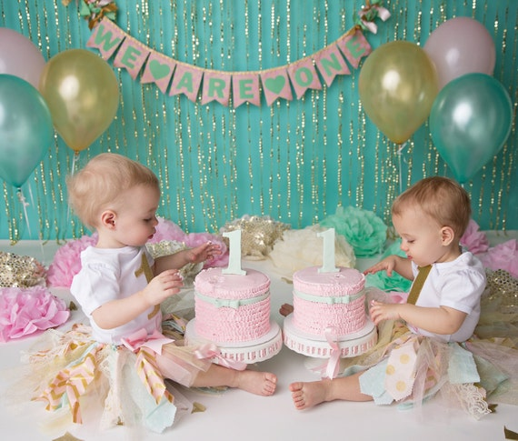Personalised New Baby Or Birthday Card By Mint Nifty: PINK & GOLD 1st Birthday BANNER . Twin Birthday . Cake Smash