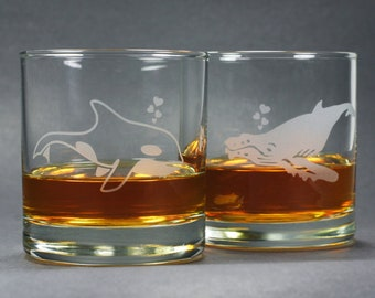 Whale Lowball Glasses -  Set of 2