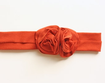 Rust Jersey Knit Flower Headband - Baby to Adult Headband - Fall Headband
