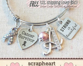 CANCER SURVIVOR Gift, STRONG is Beautiful Cancer Survivor Bracelet,  Breast Cancer Gifts, Cancer Ribbon Jewelry, Cancer Awareness Gift - 00
