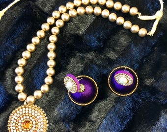 Beautiful and elegant beaded necklace with threaded earrings/Jhumka