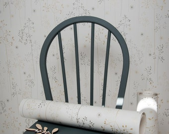 SAMPLE // Grey Gold Off White Floral Tonal Grasses Wallpaper // Meadow Grass in 'Grey & Gold' by Hannah Nunn