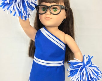 """Doll cheerleading clothes, doll cheerleader uniform, 18"""" doll clothes, blue and white, doll costume, doll pom poms, doll"""