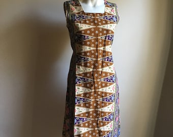 Vintage Indonesian Batik Dress • Cotton Dress • Batik Dress • Everyday Dress • Free Size