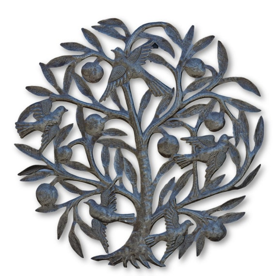 Tree of Life w/ Birds & Fruit,  Quality Handcrafted Haitian Metal Art, One-of-a-Kind 21.5 x 21.5