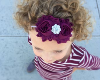 Eggplant Headband- Burgundy Headband, Maroon Headband, Fall headband, Winter headband, toddler headband, Birthday headband,