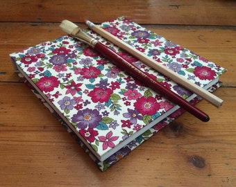 Square Sketchbook/fabric covered/gift for artist/cartridge paper/drawing book/traditional bookbinding/handmade notebook