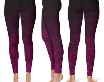 Hot Pink Ombre Tights, Grunge Pink and Black Leggings, Ombre Leggings, Pink Leggings, Fashion Tights, Footless Tights