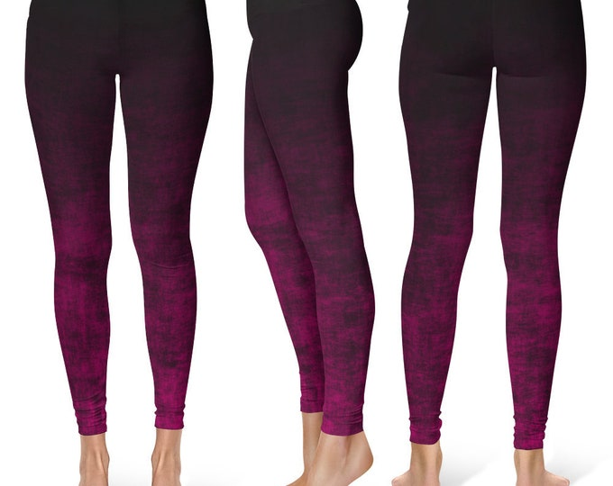 Hot Pink Ombre Leggings Yoga Pants, Grunge Yoga Tights for Women in Black and Pink