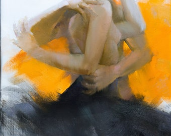 Love Dance Oil Painting Contemporary Dance Artwork, Yellow and Black Original Art Figurative Painting