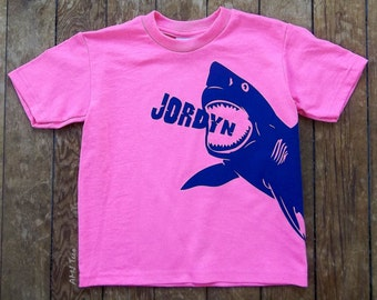 Personalized shark shirt, girls shark shirt, girls birthday shirt