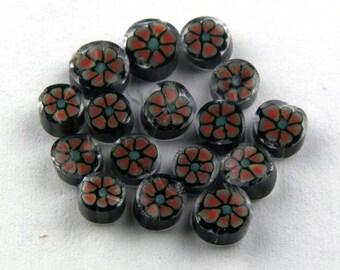 Handmade Lampwork Murrine Mini Orange/Green Poppy 104 COE Murrini slices 15 - R