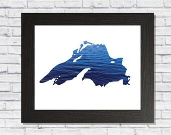 Lake Superior Print, Lake silhouette, Water Print, Great Lakes, Digital Art, Printable Decor