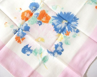 Vintage Handkerchief Large Pink Flowers with Orange and Blue, Asymmetrical Design