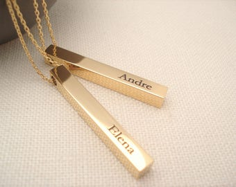 Personalized Vertical Gold bar necklace...Engraved 3D Bar, sorority, best friend gift, wedding, bridesmaid gift