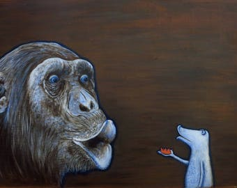 Chimpanzee frog, chimpanzee, monkey, frog