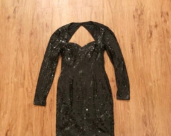 SHOP SALE Vintage 80s Black Sequin Cut Out Long Sleeve Party Dress