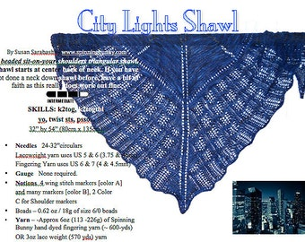 City Lights Shawl Kit -  NeverLand Blues Yarn with beads and pattern