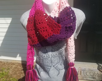 Patchwork Convertible Crochet Scarf, in Sweetheart ~READY TO ORDER!!~