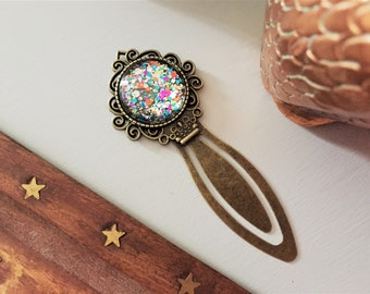 Antique Brass Glass Cabochon Glitter Bookmark
