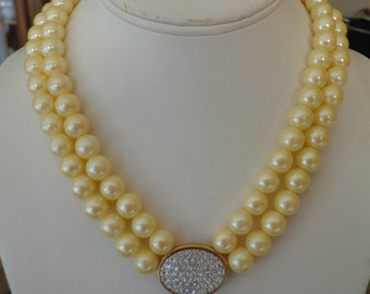 Vintage Avon Necklace Golden Yellow 2-Strand Faux Pearl w/ Reversible Rhinestone Centerpiece and Rhinestone Clasp