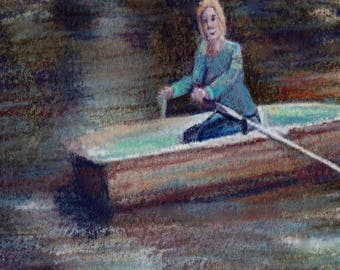 original art  aceo drawing row your boat stream