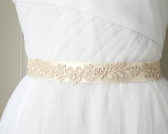 Thin Sash, Ivory Lace Sash, Wedding Sash, Bridal Sash