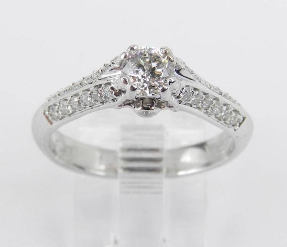14K White Gold Diamond Engagement Ring Promise Ring Anniversary Ring Size 7