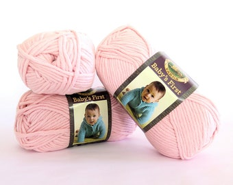 Baby's First Twinkle Toes Light Pink Lion Brand Yarn 3 Skeins Craft Supply