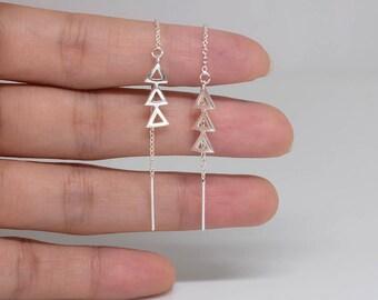 Triple Triangle Sterling Silver Threader Earrings