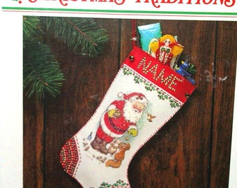 WonderArt Presents from Santa Felt Stocking Embroidery kit 9 X 16 New Christmas craft kids or adults