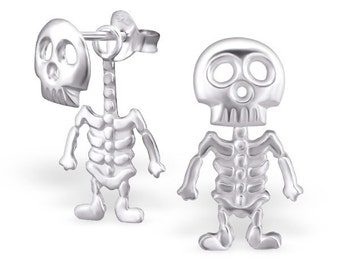 Halloween Skeleton Front to Back Peekaboo Stud Earrings - 925 Sterling Silver - ESAPS221