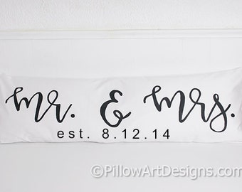 Personalized Large Lumbar Oblong Pillow Cover 12 X 36 Mr & Mrs White Cotton Fully Lined Made in Canada Bolster Pillow