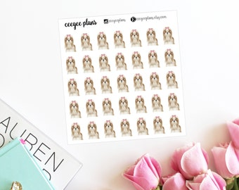 Long-Haired Shih Tzu Planner Stickers | 35 Dog Stickers for ANY Planner