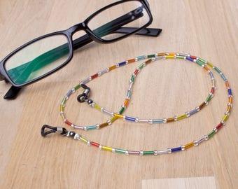 Rainbow glasses chain - multicoloured beads glasses lanyard | Colourful eyewear neck cord | Sunglasses chain | Eyeglasses holder