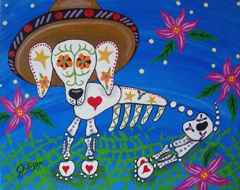 Mexican Folk Art Day of the Dead Dog Puppy DOD Illustrated Art Deco Print Poster Art Ellison Multiple Sizes available