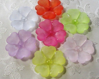 Large Frosted Acrylic Pansy Flower Beads You Choose Colors 28mm 448
