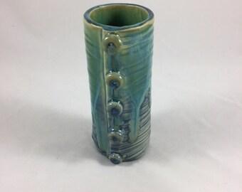 Small Ceramic Vase, Flower Vase, Make-up Brush Holder, Pencil Holder, Hand Built Pottery, Handmade, Gift under Twenty, Small gift