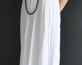 Handmade tunic, shift linen dress, white dress with long sleeves,  in 3 colors available, a festive YOUSAKO design