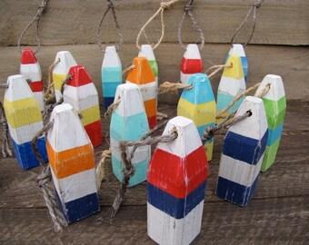 Nautical Ornaments, Buoys - Mini Lobster Nautical Buoys-Assorted Colors, Reclaimed Wood, Altered Nature