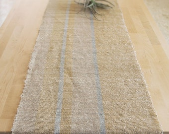 Hemp and cotton table runner, natural style, oat, azure and yellow