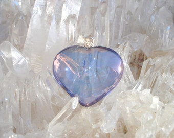 Tanzanite / Lavender  Aura Heart Pendant - Pure Joyful Energy- Sterling Silver  - A Grade !  Beautiful