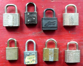 8 Vintage locks Vintage tiny locks Vintage little locks Group of locks Vintage diary locks Old luggage locks Assemblage Mixed media locks #6