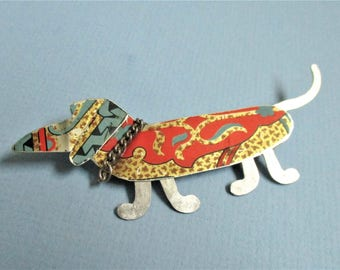 Dog Brooch Whimsical Hand Crafted Dog Pin Jewelry Silver Enamel Jean Haefele Artist Made Vintage Brooch Dachshund Red Silver Artsy Dog Pin